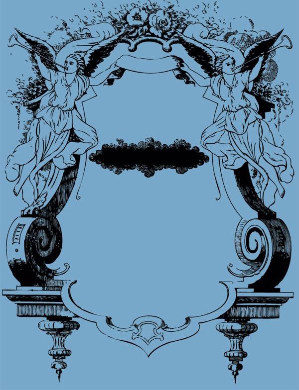 经典欧式天使花纹的装饰框架