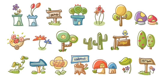 線條風格卡通植物免費素材下載