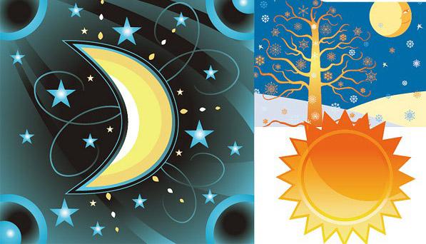 矢量,卡通,太阳,月亮,星星,树