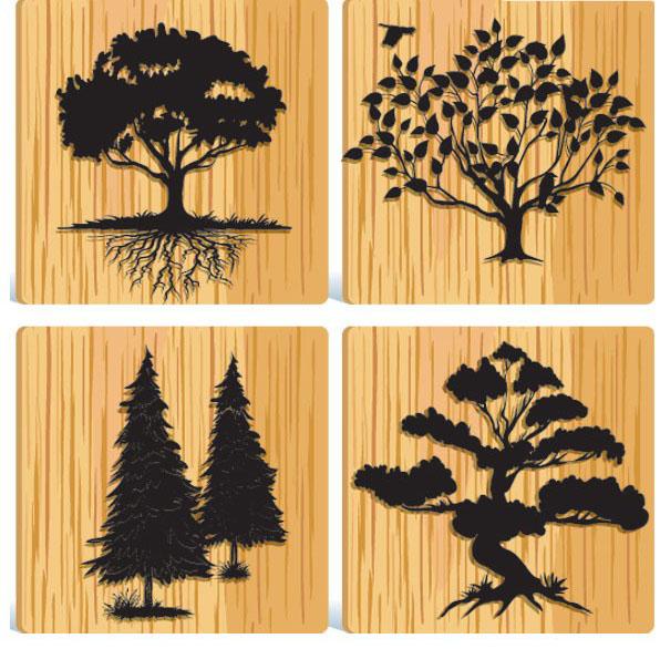 一组木纹背景的树木剪影免费素材下载