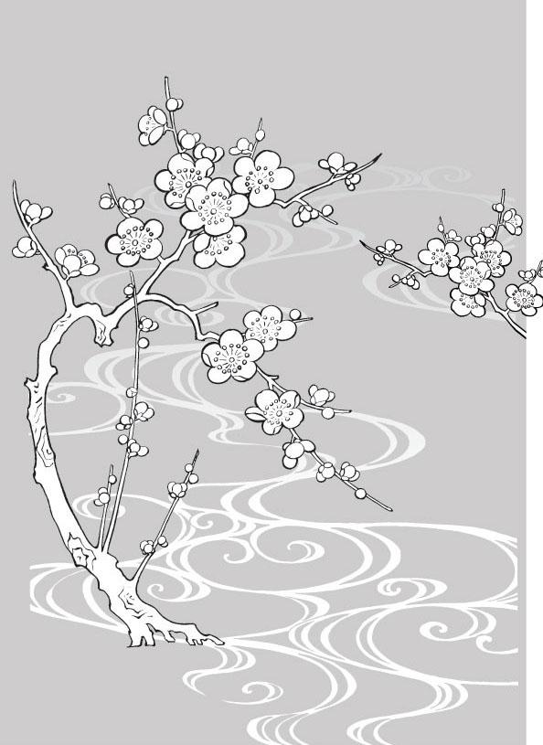 梅花线描植物花卉矢量素材免费素材下载
