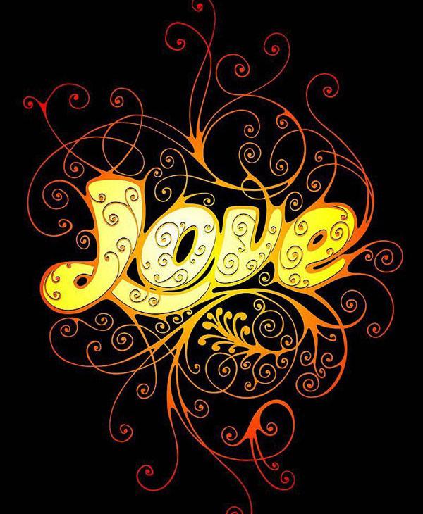 流行花纹love字体设计