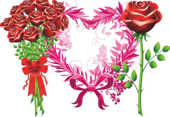 玫瑰花剪影_精美的玫瑰花束