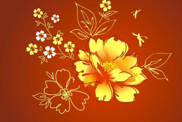 金色牡丹工笔画