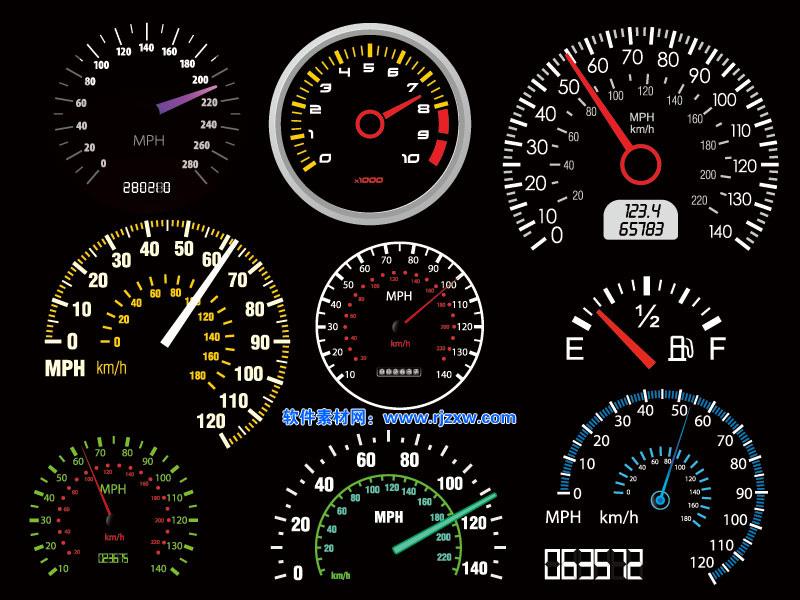 9款汽车仪表盘矢量图高清图片