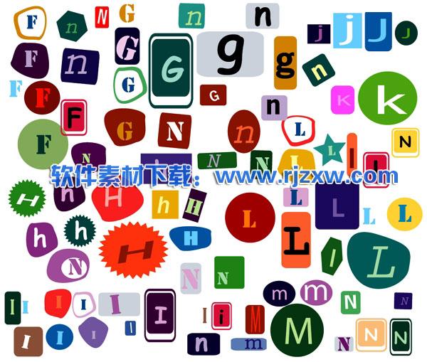 可爱英文字母矢量图免费素材下载