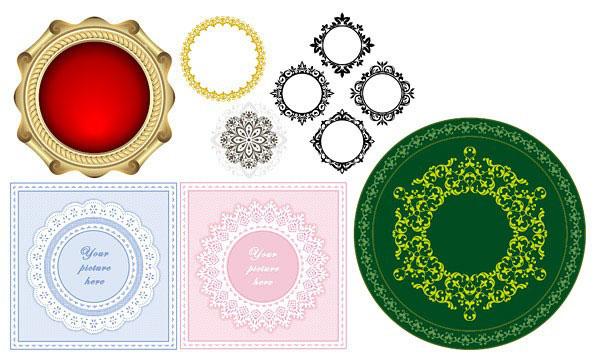 几款eps矢量的圆形花边素材