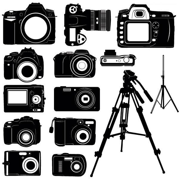 黑白数码相机与脚架矢量图素材下载免费素材下载