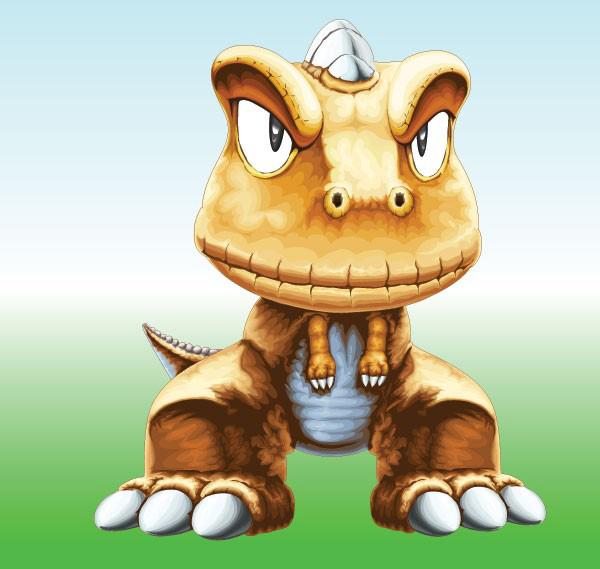 一款超可爱的小恐龙矢量素材免费素材下载