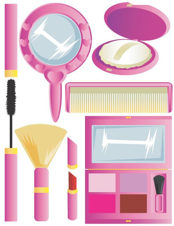 粉红色系列女性化妆工具矢量图素材下载免费素材下载