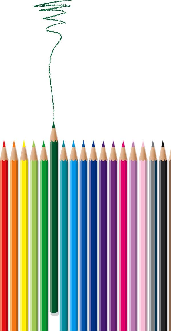 彩色铅笔组合矢量图素材下载