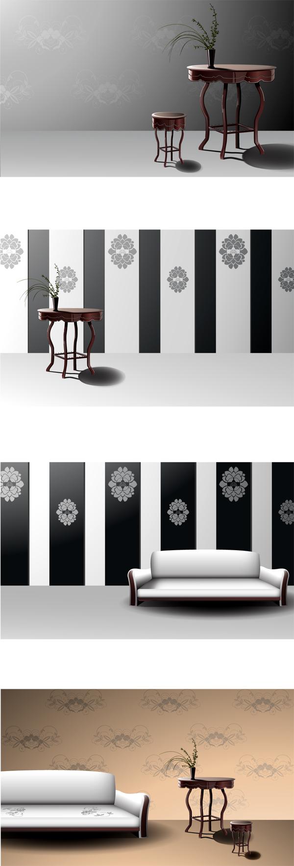 古典欧式家具和背景矢量图素材下载免费素材下载