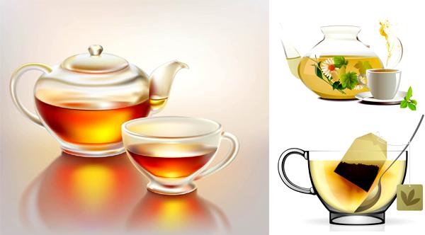 精致茶壶和茶杯矢量图素材下载