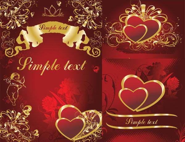 3款华丽的金色心形花纹矢量图素材下载免费素材下载