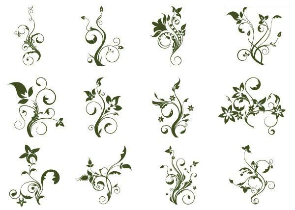 12款简洁实用的黑白植物花纹矢量图素材下载免费素材下载