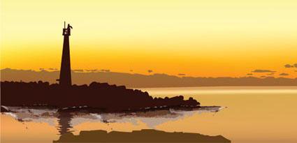 海岛上的灯塔矢量图免费素材下载