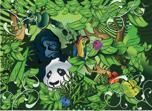 绿色丛林里的动物们矢量图