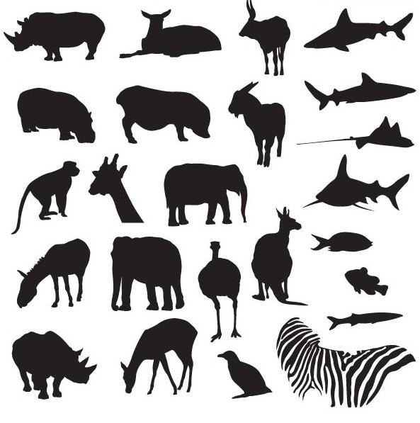 多款陆地海洋动物黑白剪影矢量图免费素材下载