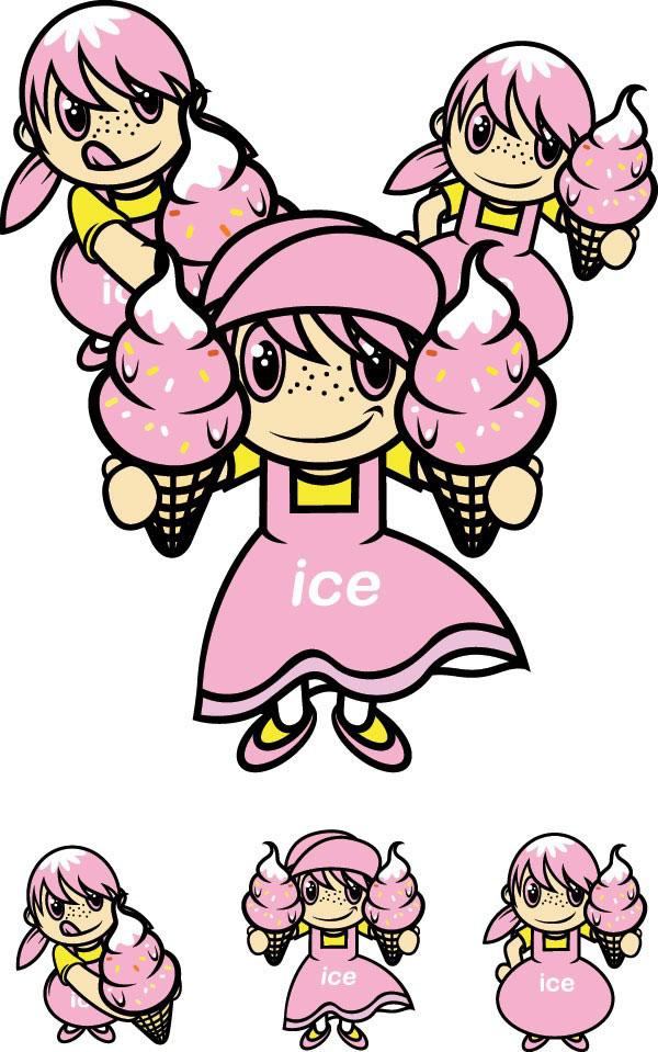 可爱冰淇淋卡通女孩矢量图