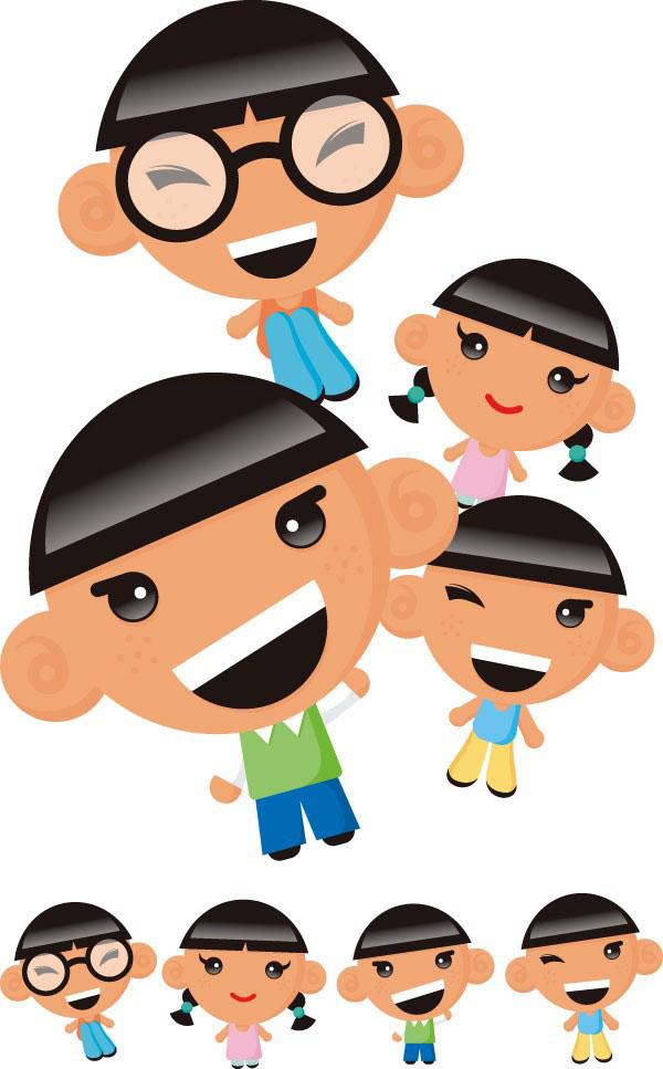 可爱卡通儿童角色矢量图免费素材下载