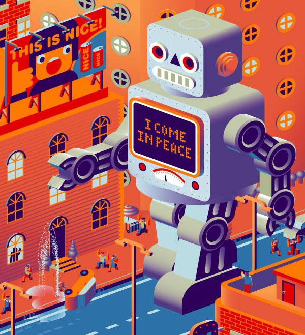 世界卡通机器人矢量图免费素材下载