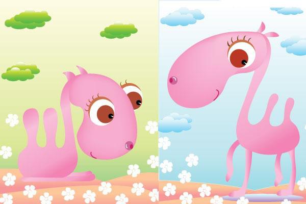 可爱卡通粉色骆驼矢量图免费素材下载