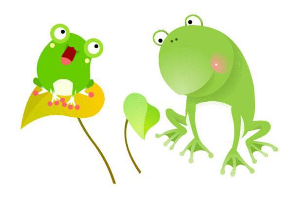 可爱卡通绿色青蛙矢量图免费素材下载