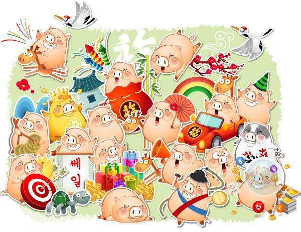 卡通猪可爱的矢量图免费素材下载