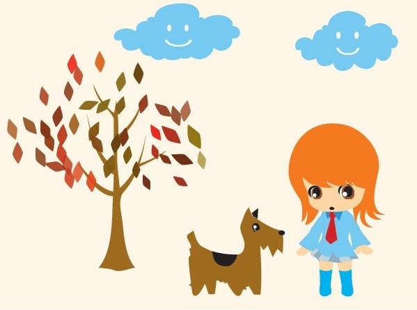 可爱小女孩和狗狗卡通矢量图免费素材下载