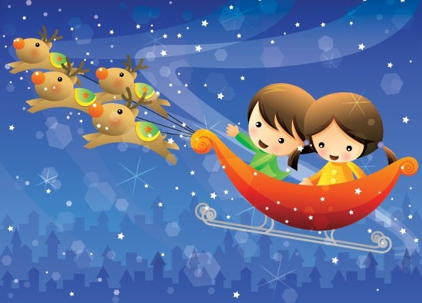 乘坐雪橇的快乐孩子们矢量图免费素材下载