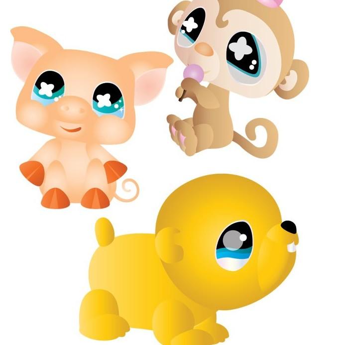 超可爱卡通小猴小猪和小狗矢量图