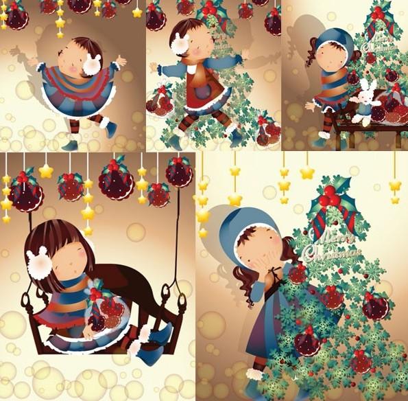 圣诞节主题可爱卡通女孩矢量图免费素材下载