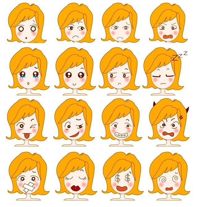 可爱女孩表情头像矢量图免费素材下载