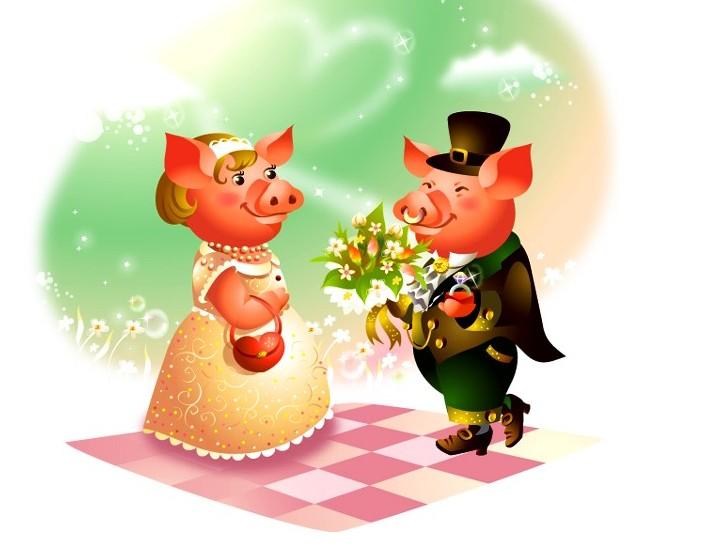 卡通风格猪猪和仙鹤情侣矢量图免费素材下载