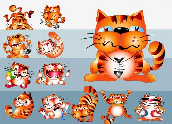 超可爱卡通猫矢量图免费素材下载