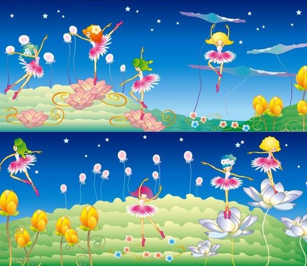 韩国可爱卡通花仙子矢量图免费素材下载