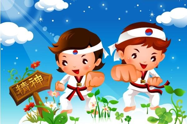 儿童跆拳道运动矢量图免费素材下载