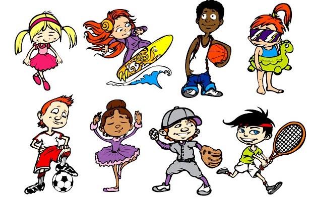 可爱卡通运动儿童矢量图素材下载