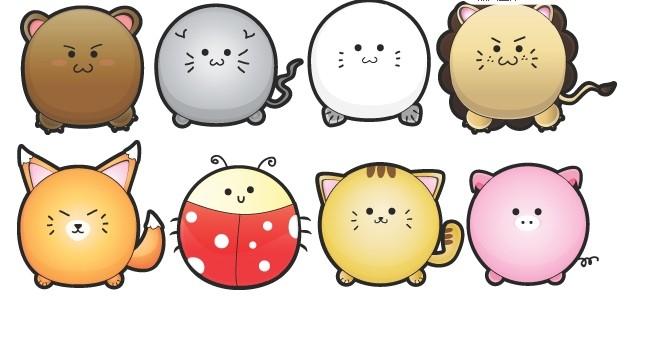 可爱圆蛋卡通动物矢量图
