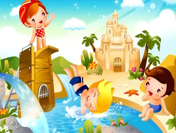 跳水卡通儿童运动矢量图素材下载
