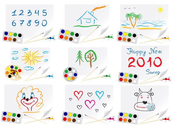 卡通风格可爱儿童绘画矢量图免费素材下载
