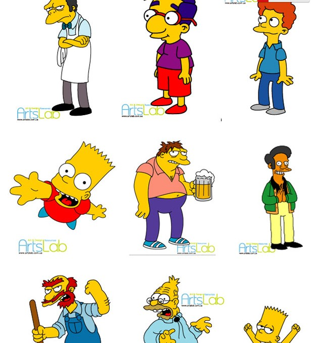 可爱的辛普森一家卡通人物矢量图免费素材下载