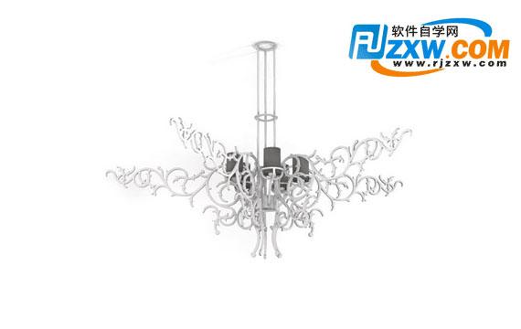 铁艺花纹吊灯3dmax模型免费素材下载