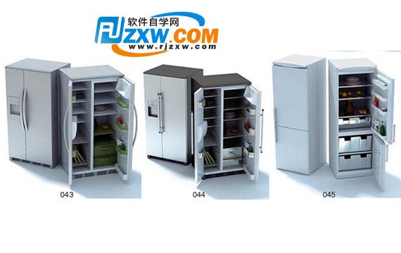 双开门冰箱3dmax模型免费素材下载高清图片