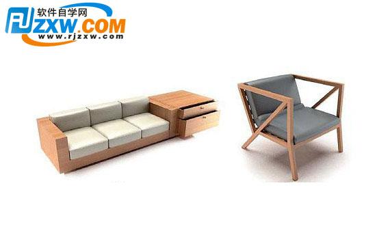 3dmax木制沙发模型免费素材下载