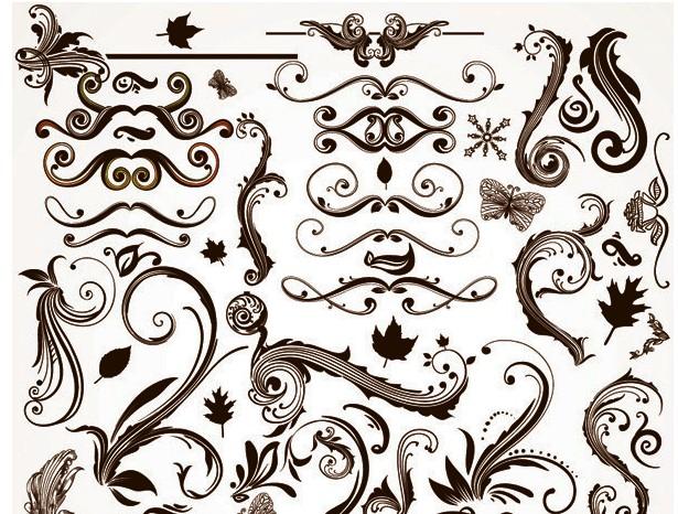 欧式风格华丽植物树叶蝴蝶矢量图免费素材下载