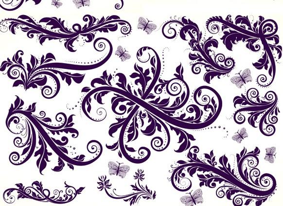 精美紫色华丽花纹花边免费素材下载