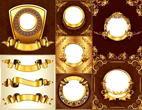 多款金色华丽装饰边框免费素材下载