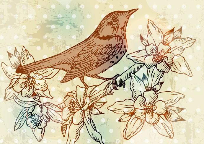 手绘花鸟画设计矢量素材