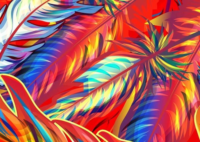 手绘炫彩的羽毛矢量素材免费素材下载